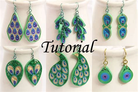 How To Make Earring With Paper - peacock design paper quilled earrings tutorial honey s