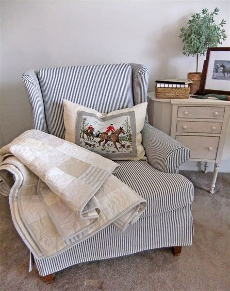 slipcover for a wingback chair ticking slipcover for a wingback chair accessorized with