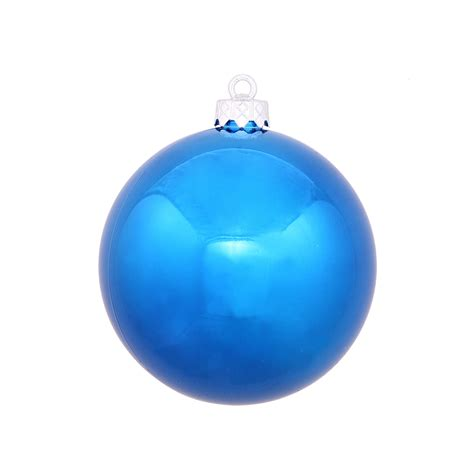 blue ball ornaments 5 quot shiny set of 4