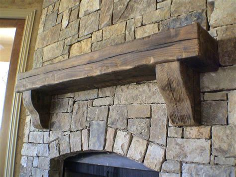 simple wood fireplace mantle living room