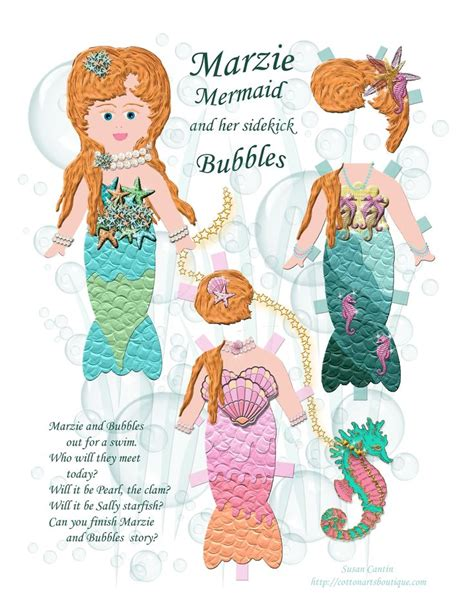 pattern paper doll marzie mermaid paper doll paper dolls at cotton arts