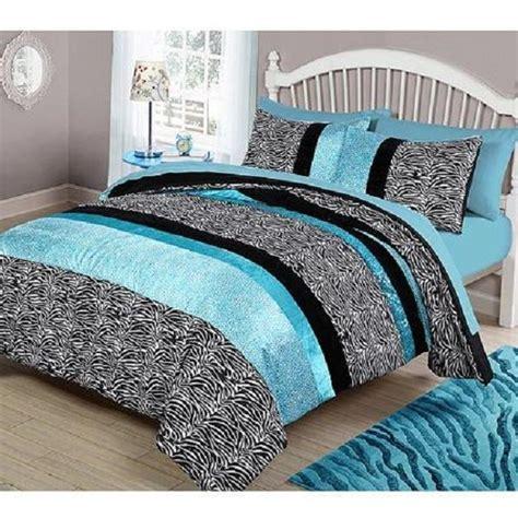 Teal And Black Bedding Sets Comforter Bedding Reversible Set Teal Blue Zebra Black 4 Room Yourzone Bed