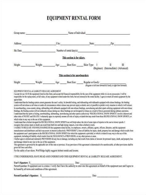 equipment lease agreement template south africa 6 equipment liability form sles free sle exle
