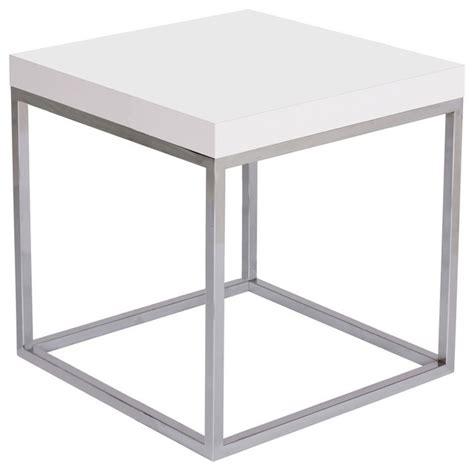 High Gloss Side Table Prairie 20x20 End Table High Gloss White Top Chrome Legs Modern Side Tables And End