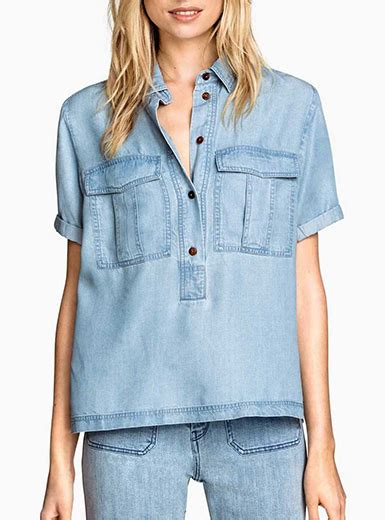 womens soft chambray shirt faded blue short sleeves