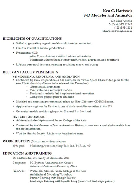 Animation Professional Resume Interactive Digital Media Create A Professional Resume