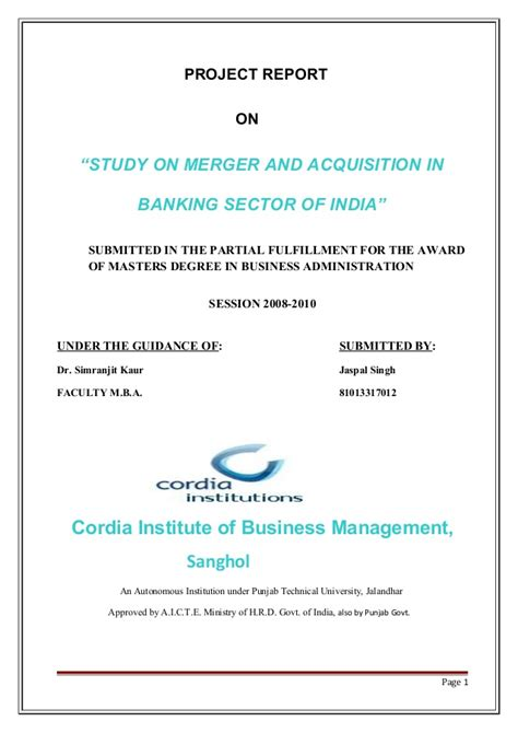 Mergers And Acquisitions In Indian Banking Sector Mba Project by Merger And Acquisition Of Banks