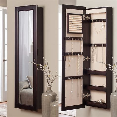 mounted jewelry armoire belham living lighted wall mount locking jewelry armoire