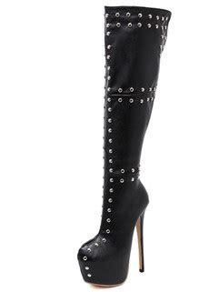 style rivet toe stiletto heel thigh high boots