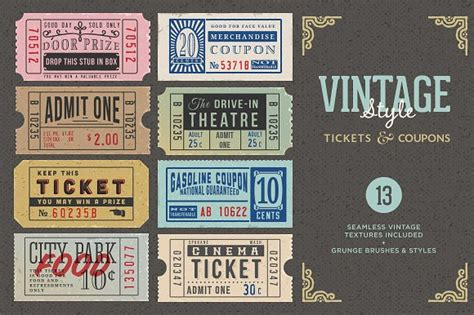 illustrator ticket template vintage tickets coupons bundle graphics creative market