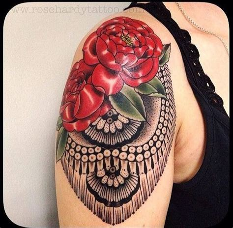 epaulette tattoo shoulder pad epaulette twisted with roses for a