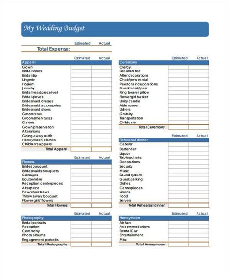 wedding budget form budget forms in pdf