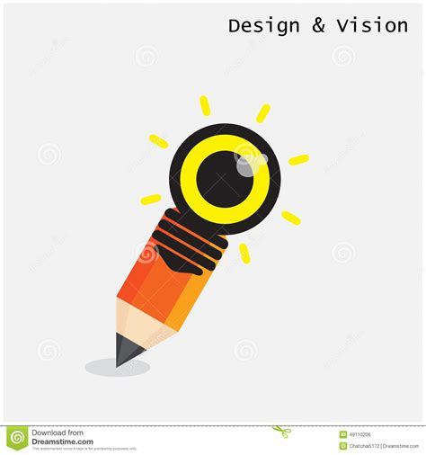 design vision creative pencil and light bulb design with vision concept