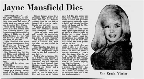 jayne mansfield car crash pictures died in automobile along with sam brody