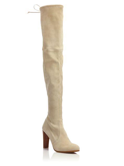 stuart weitzman highland the knee boots lyst stuart weitzman highland suede the knee boots