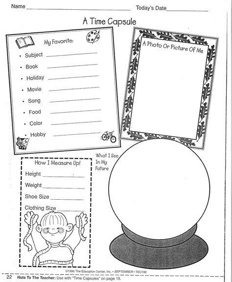 printable time capsule sheets second grade time capsule project on pinterest time