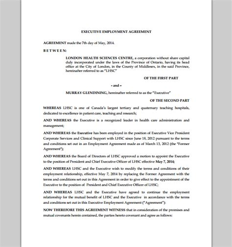 ceo employment contract template sle executive agreement executive cooperation