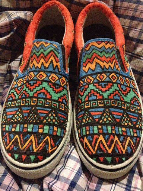 custom canvas tribal print shoes vans from youruniquesole on