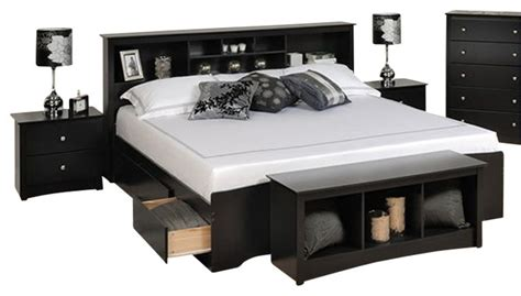 prepac sonoma black king bookcase platform bed 3 bedroom set transitional platform