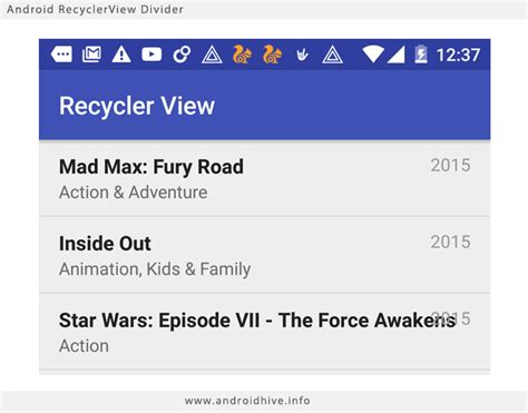 android layout separator android working with recyclerview