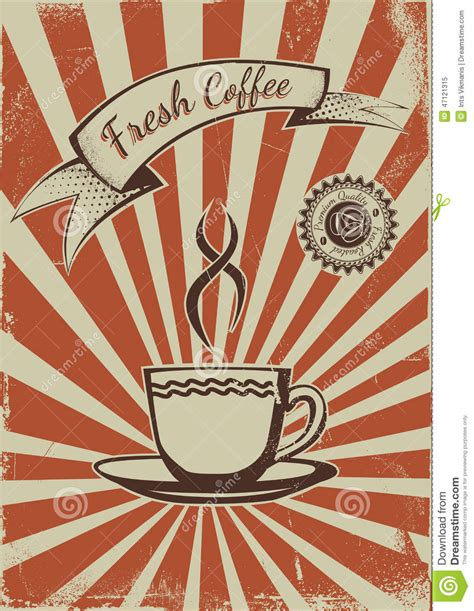 Vintage Coffee Poster Template Stock Vector   Image: 47121315