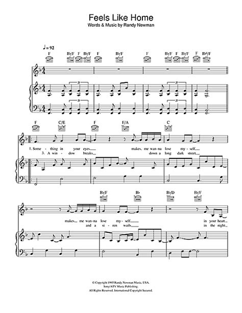 feels like home sheet by randy newman piano vocal