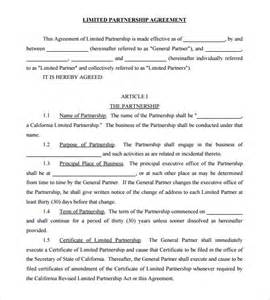 limited partnership agreement template sle partnership agreement 13 free documents
