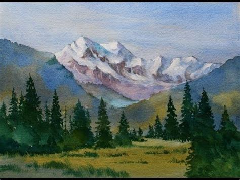 watercolor tutorial mountains snow capped mountain landscape watercolor painting done in