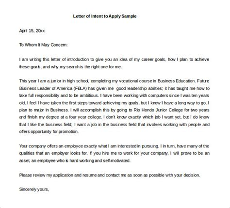 Letter Of Intent Sle For College 17 Free Letter Of Intent Templates Free Sle Exle Format Free Premium