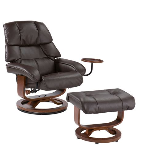 lake leather recliner and ottoman brown