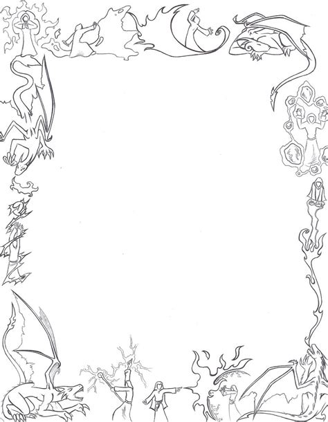 lined paper with simple border dragons and mages paper border by larutanrepus on deviantart