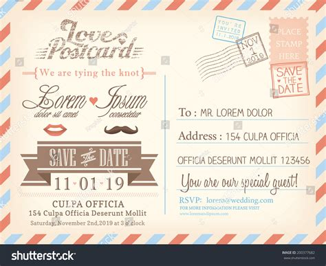 post card template event background vintage airmail postcard background vector template stock