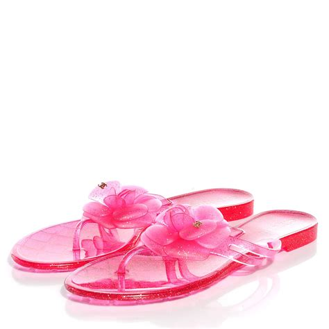 pink sparkly sandals chanel jelly camellia glitter sandals pink 38 96297