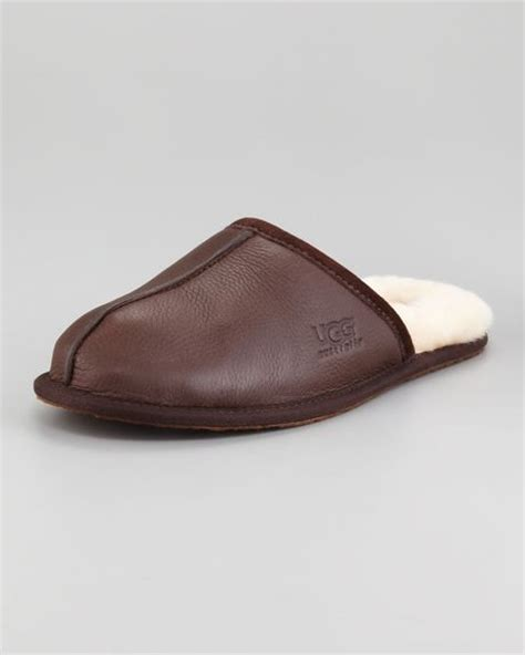 ugg mule slippers ugg scuff mule slipper brown in brown for lyst