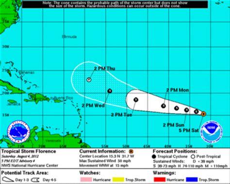 ernesto races toward western caribbean; florence's
