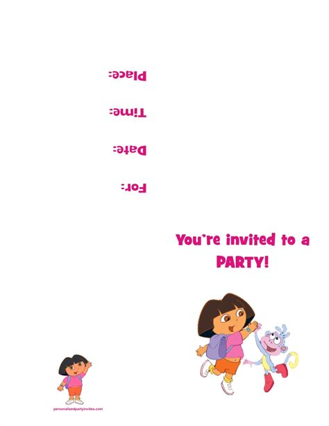 printable invitations dora the explorer dora the explorer free printable birthday party invitation