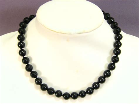 black onyx bead necklace gemstone necklace black onyx 10mm ebay