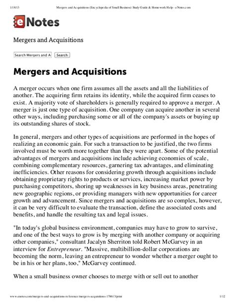 Merger And Acquisition Notes For Mba by Mergers And Acquisitions Encyclopedia Of Small Business