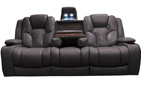reclining power loveseat bastille power reclining sofa with drop down table at