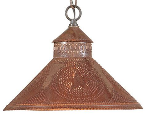 Punched Tin Pendant Light Stockbridge Punched Tin Pendant Shade Light With Design Rustic Tin Rustic Pendant