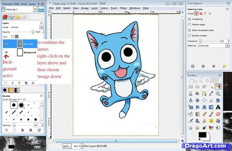 online tutorial gimp how to color in gimp step by step coloring drawing