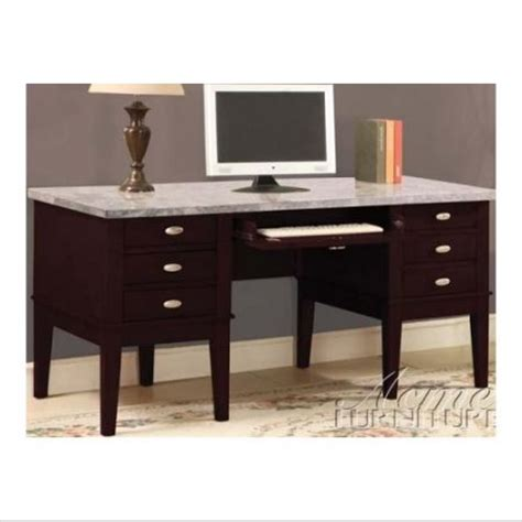 office desk with marble top acme furniture 92008 office desk w white marble