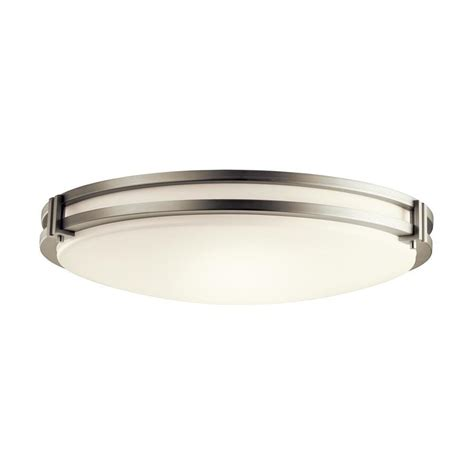 Avon Flush Mount Bathroom Ceiling Light by Kichler Avon 24 In Brushed Nickel Transitional Led Flush Mount Light At Lowes