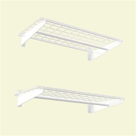 Shelf With Hanging Rod by Hyloft 36x18 Inch Wall Shelf 2 Pack White Finish With