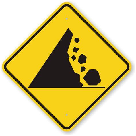 warning sign falling mountain rocks symbol road warning sign sku k