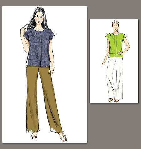 jeans pattern vogue vogue patterns 8798 misses top and pants sewing pattern