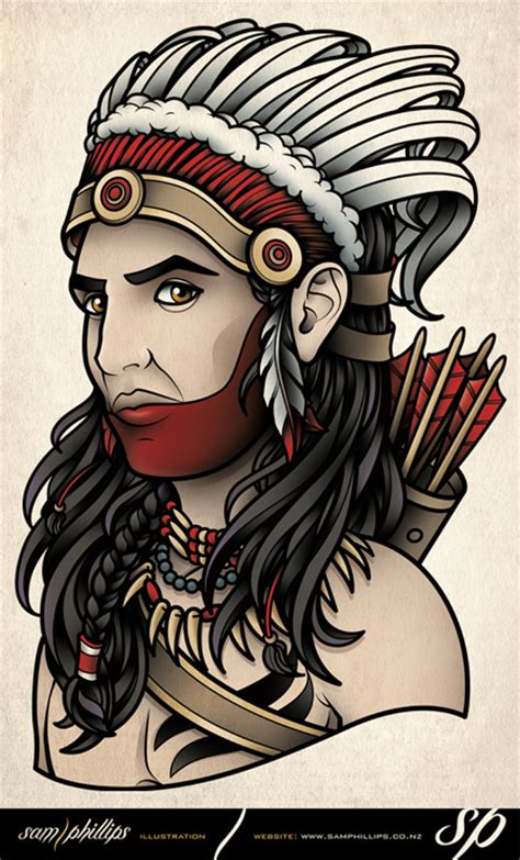 tattoo flash by sam phillips american indian chief tattoo by sam phillips nz on deviantart