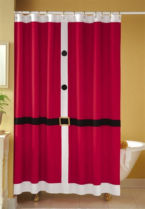 holiday shower curtains christmas santa suit shower curtain christmas pinterest
