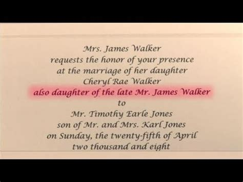 how to write wedding invitations in honor of deceased