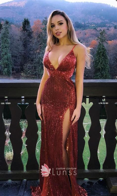 gold white fitted plunging neckline high slit prom dress sparkling glitter thigh high slit plunging v neck prom dress lunss couture